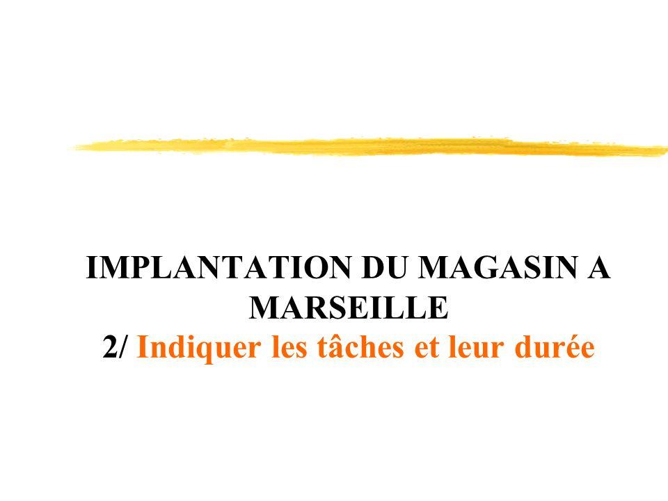 IMPLANTATION DU MAGASIN A MARSEILLE 2/ Indiquer les tâches et leur durée