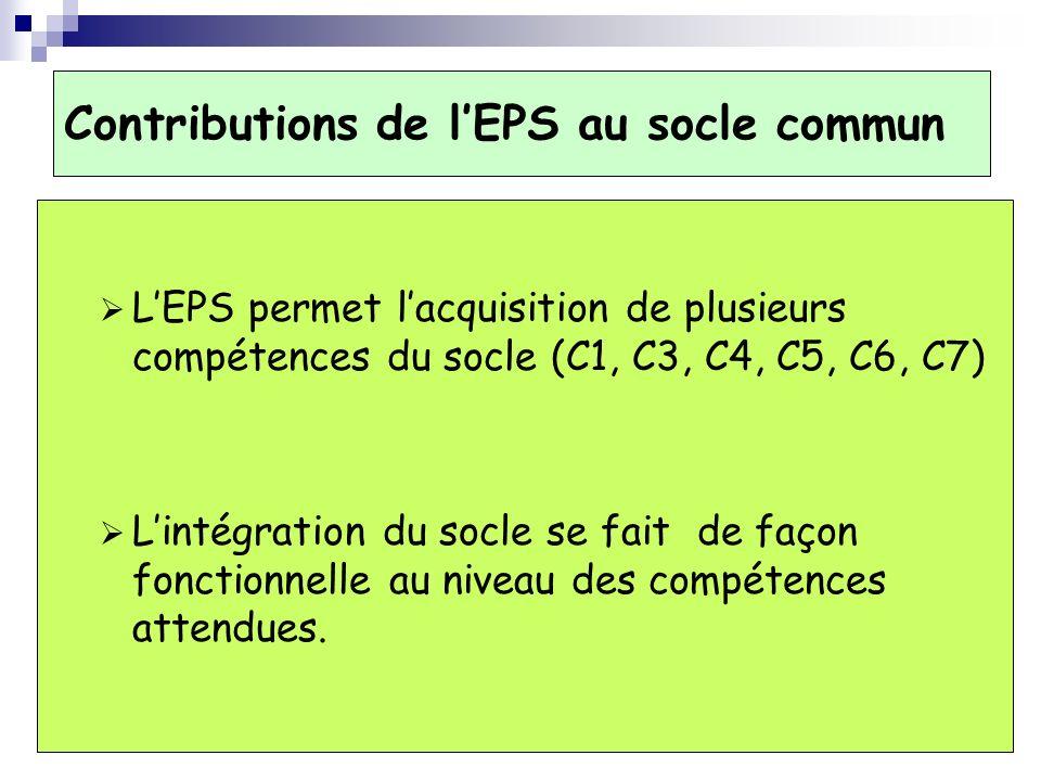 Contributions de lEPS au socle commun LEPS permet lacquisition de plusieurs compétences du socle (C1, C3, C4, C5, C6, C7) Lintégration du socle se fait de façon fonctionnelle au niveau des compétences attendues.