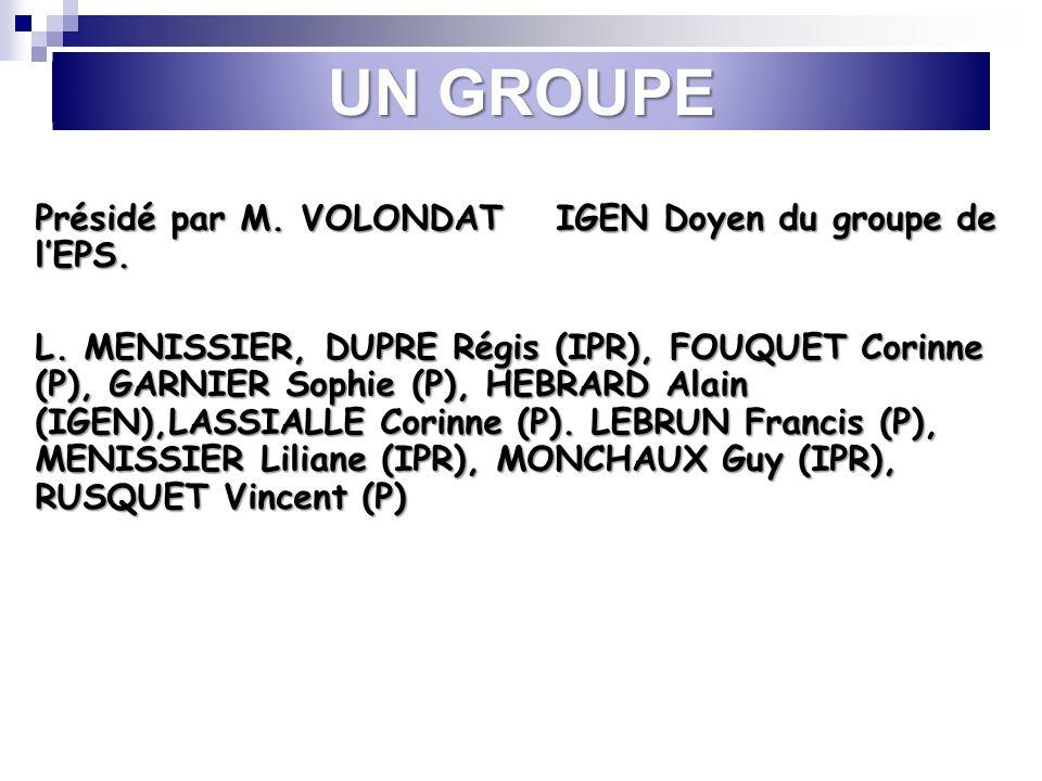 UN GROUPE Présidé par M.VOLONDAT IGEN Doyen du groupe de lEPS.