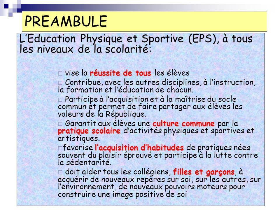 PREAMBULE LEducation Physique et Sportive (EPS), à tous les niveaux de la scolarité: réussite de tous vise la réussite de tous les élèves Contribue, avec les autres disciplines, à linstruction, la formation et léducation de chacun.