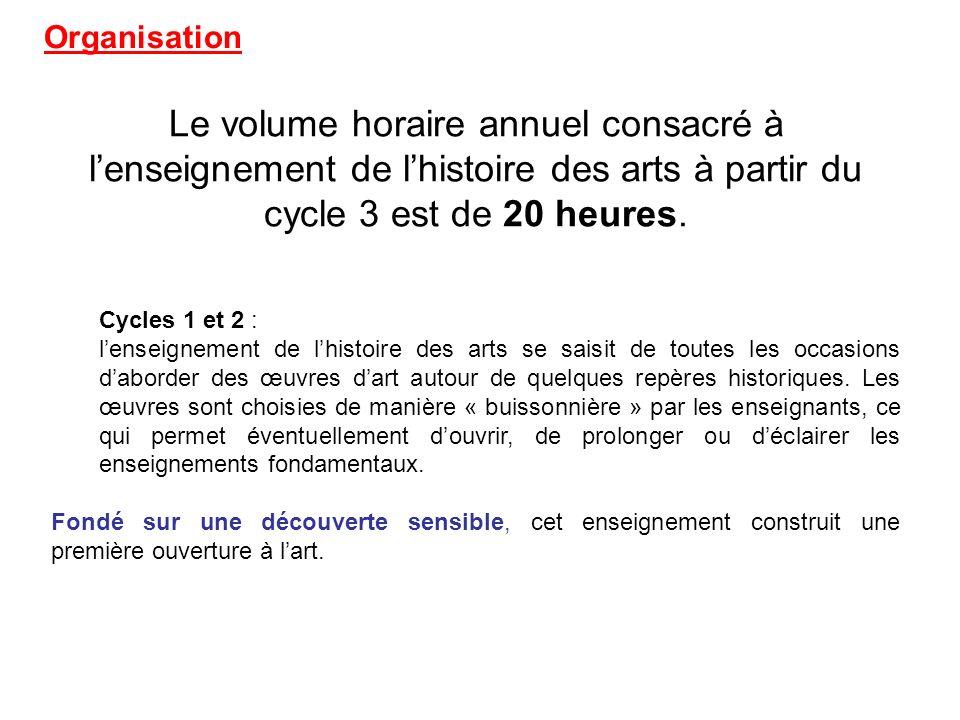 Le volume horaire annuel consacré à lenseignement de lhistoire des arts à partir du cycle 3 est de 20 heures.