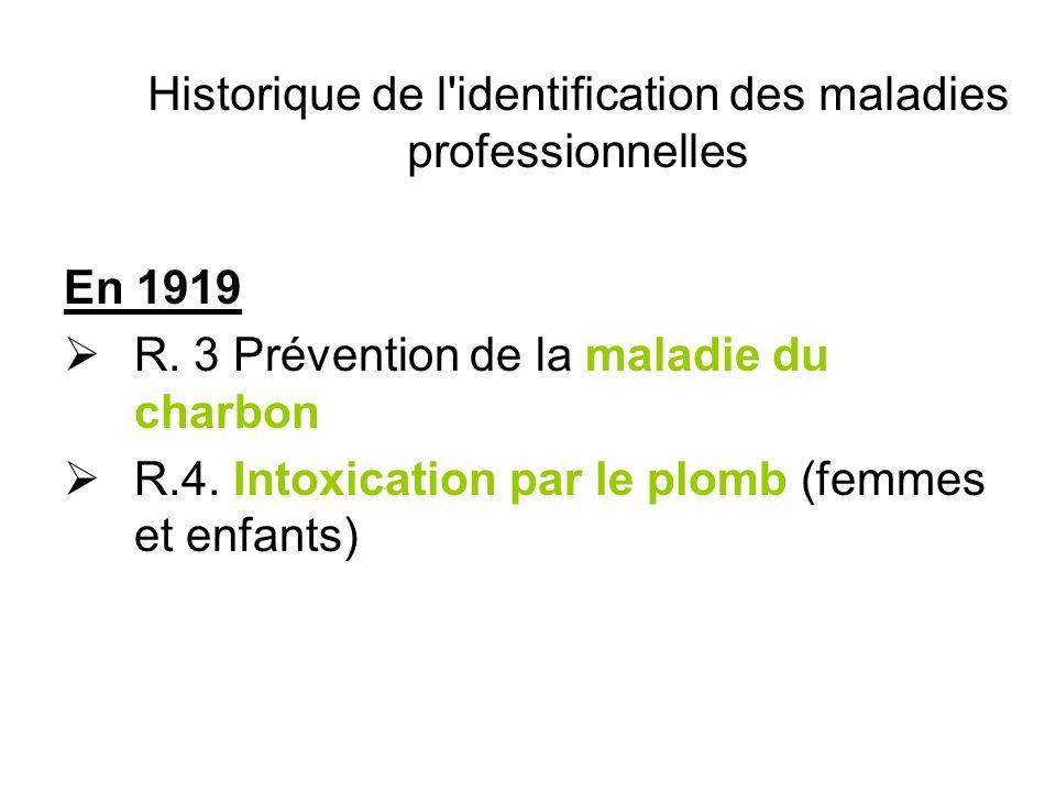 Historique de l'identification des maladies professionnelles En 1919 R. 3 Prévention de la maladie du charbon R.4. Intoxication par le plomb (femmes e