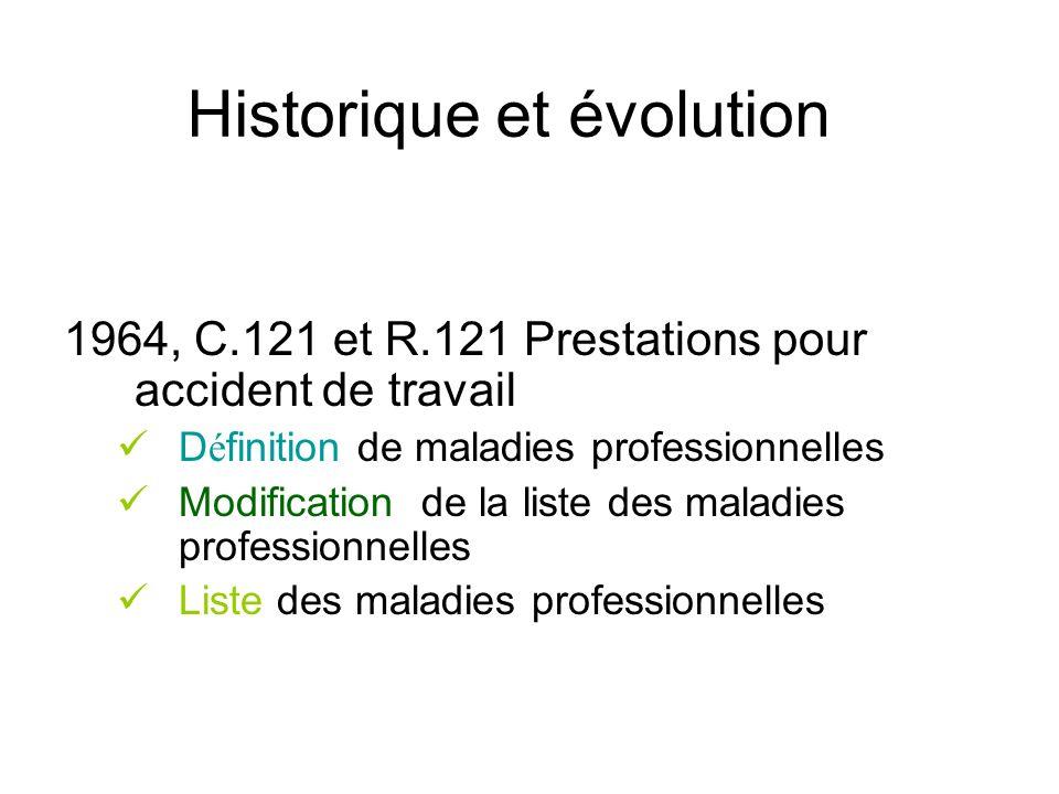 Historique et évolution 1964, C.121 et R.121 Prestations pour accident de travail D é finition de maladies professionnelles Modification de la liste d