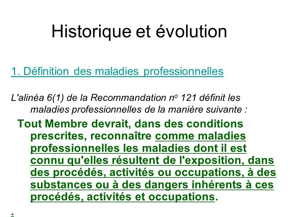 Historique et évolution 1. Définition des maladies professionnelles L'alinéa 6(1) de la Recommandation n o 121 définit les maladies professionnelles d