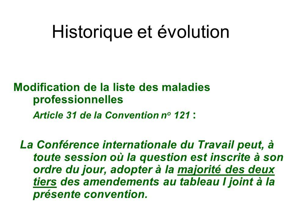 Historique et évolution Modification de la liste des maladies professionnelles Article 31 de la Convention n o 121 : La Conférence internationale du T