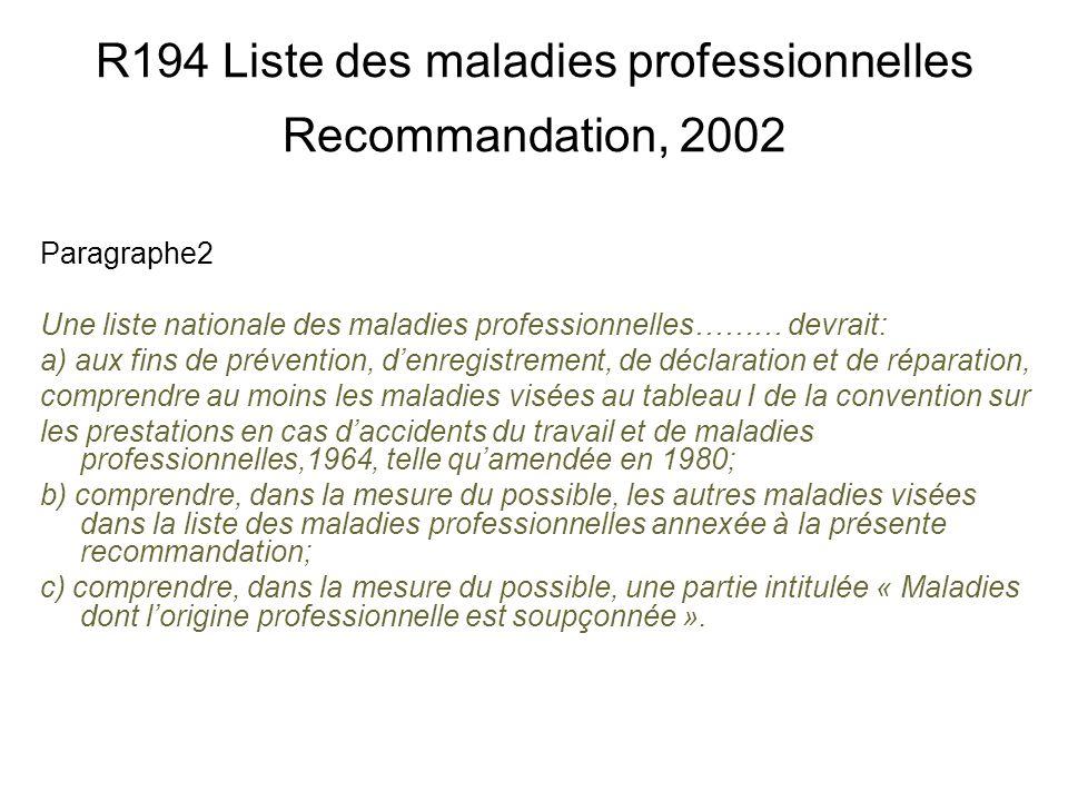 R194 Liste des maladies professionnelles Recommandation, 2002 Paragraphe2 Une liste nationale des maladies professionnelles……… devrait: a) aux fins de
