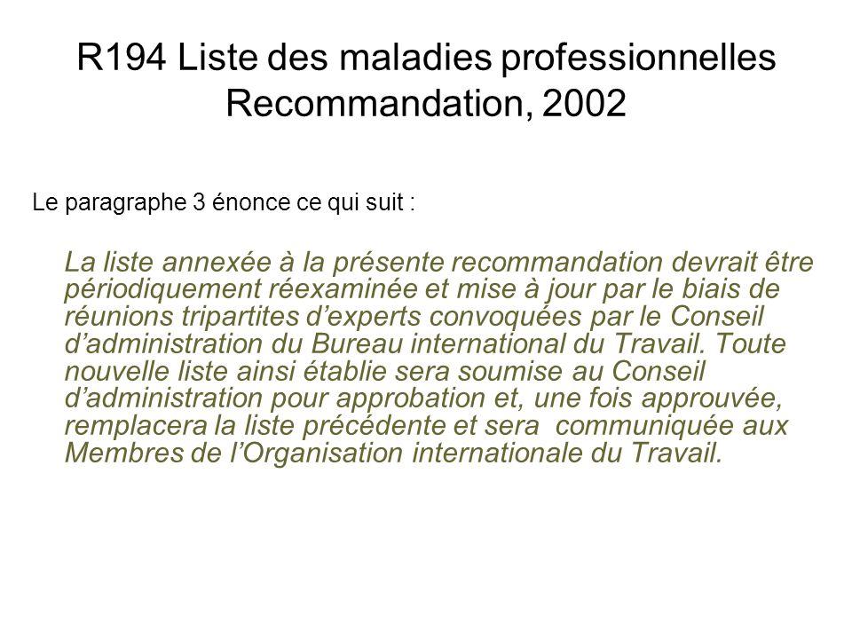 R194 Liste des maladies professionnelles Recommandation, 2002 Le paragraphe 3 énonce ce qui suit : La liste annexée à la présente recommandation devra