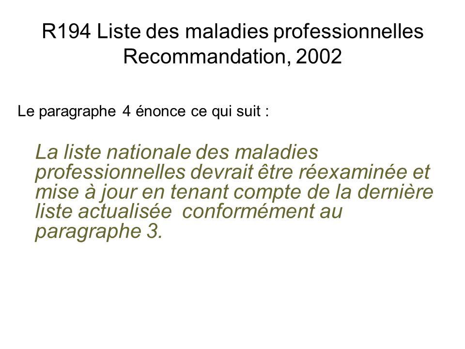 R194 Liste des maladies professionnelles Recommandation, 2002 Le paragraphe 4 énonce ce qui suit : La liste nationale des maladies professionnelles de
