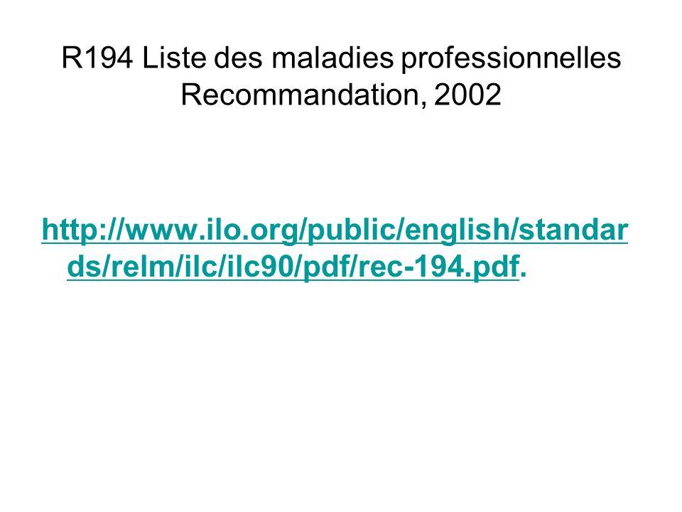 R194 Liste des maladies professionnelles Recommandation, 2002 http://www.ilo.org/public/english/standar ds/relm/ilc/ilc90/pdf/rec-194.pdfhttp://www.il