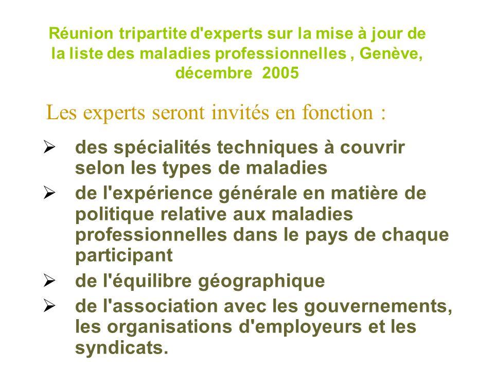 Réunion tripartite d'experts sur la mise à jour de la liste des maladies professionnelles, Genève, décembre 2005 des spécialités techniques à couvrir