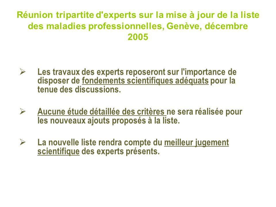 Réunion tripartite d'experts sur la mise à jour de la liste des maladies professionnelles, Genève, décembre 2005 Les travaux des experts reposeront su