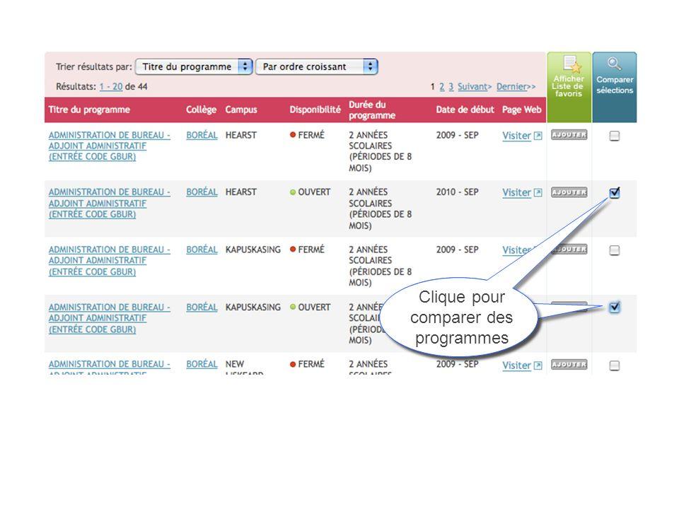 Click to compare programs Clique pour comparer des programmes