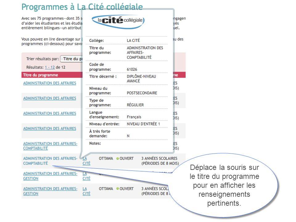 Déplace la souris sur le titre du programme pour en afficher les renseignements pertinents.