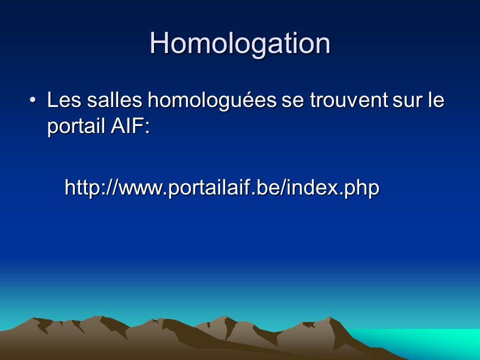 Homologation Les salles homologuées se trouvent sur le portail AIF:Les salles homologuées se trouvent sur le portail AIF: http://www.portailaif.be/index.php http://www.portailaif.be/index.php