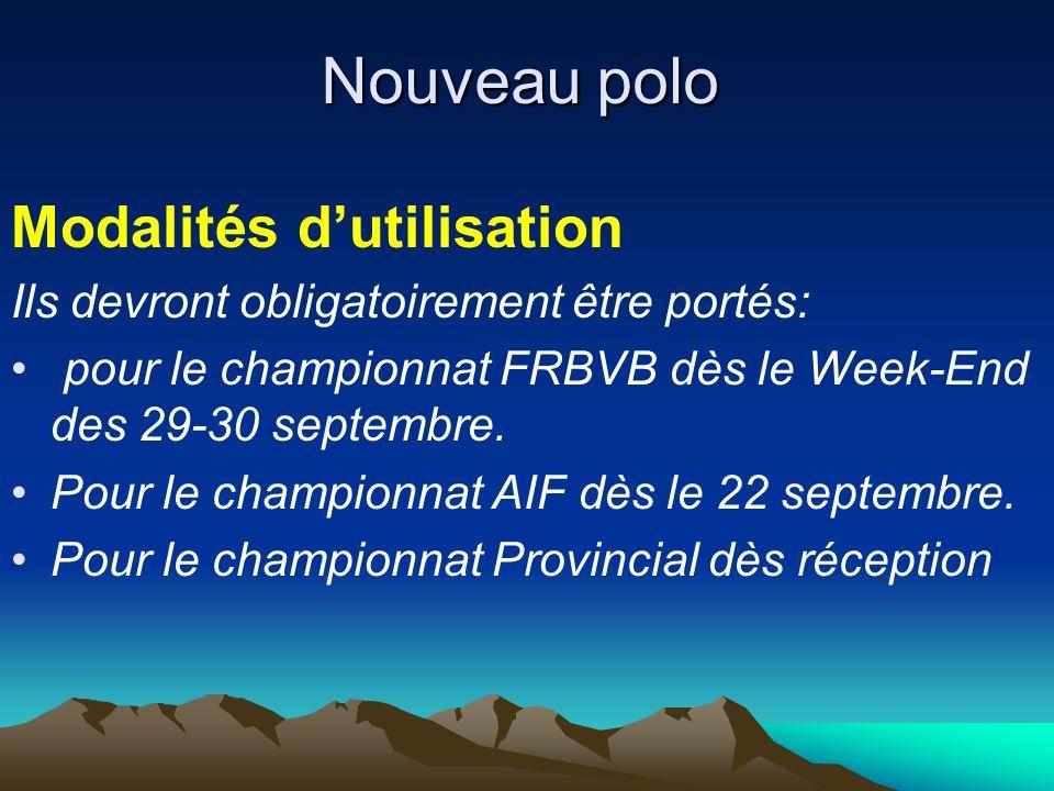 Nouveau polo Modalités dutilisation Ils devront obligatoirement être portés: pour le championnat FRBVB dès le Week-End des 29-30 septembre.