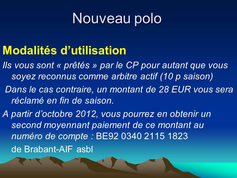 Nouveau polo Modalités dutilisation Ils vous sont « prêtés » par le CP pour autant que vous soyez reconnus comme arbitre actif (10 p saison) Dans le cas contraire, un montant de 28 EUR vous sera réclamé en fin de saison.