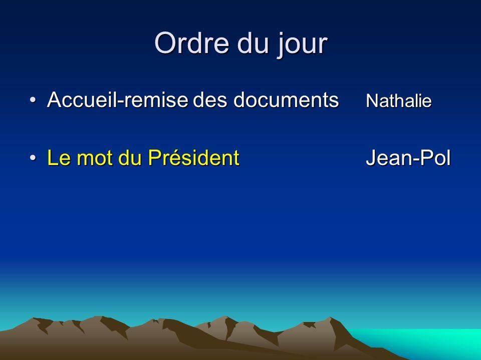 Ordre du jour Accueil-remise des documents NathalieAccueil-remise des documents Nathalie Le mot du PrésidentJean-PolLe mot du PrésidentJean-Pol