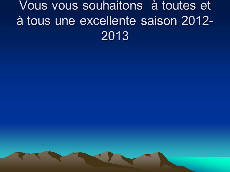 Vous vous souhaitons à toutes et à tous une excellente saison 2012- 2013