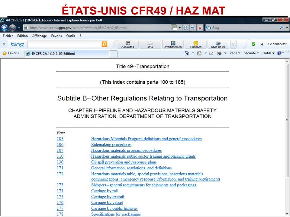 ÉTATS-UNIS CFR49 / HAZ MAT