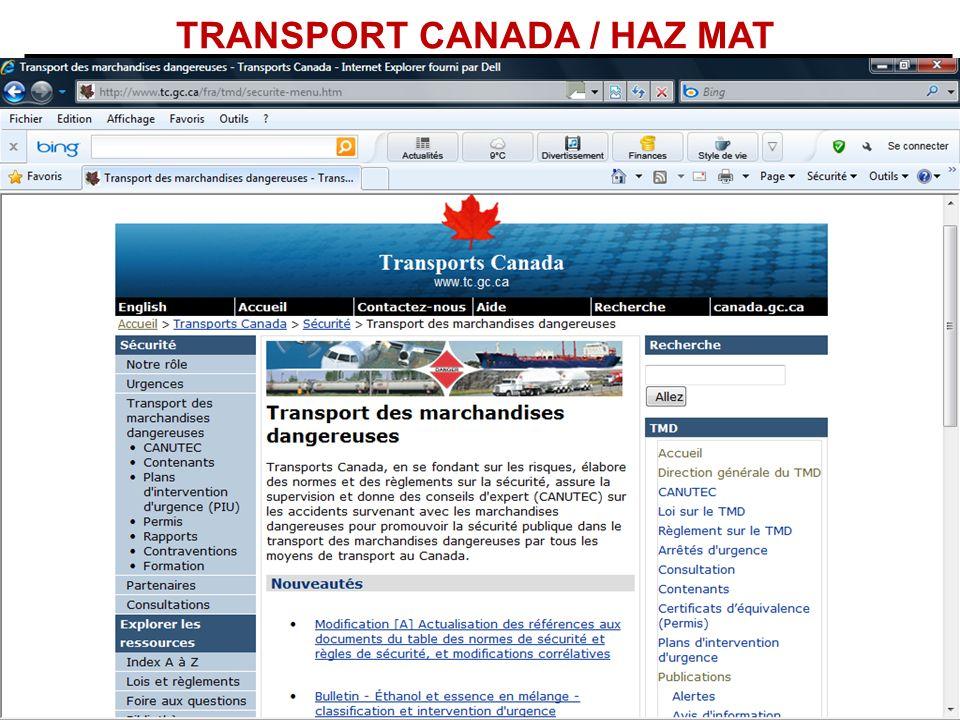 TRANSPORT CANADA / HAZ MAT