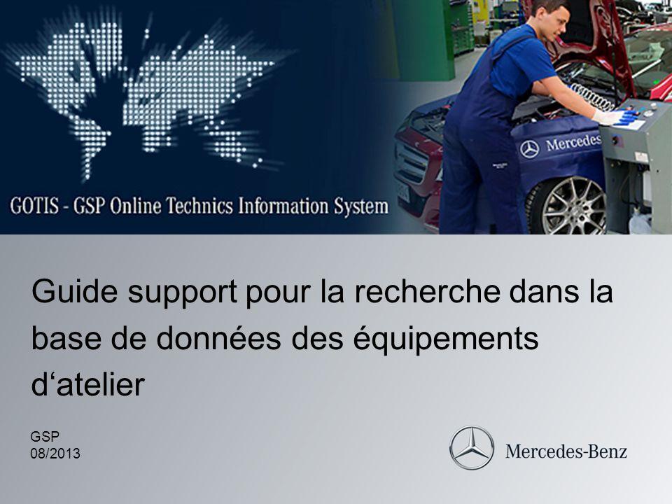 Guide support pour la recherche dans la base de données des équipements datelier GSP 08/2013