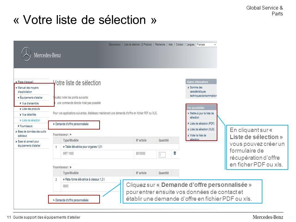 Global Service & Parts Guide support des équipements d atelier11 « Votre liste de sélection » Cliquez sur « Demande doffre personnalisée » pour entrer ensuite vos données de contact et établir une demande doffre en fichier PDF ou xls.