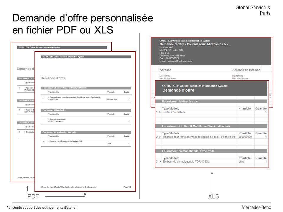 Global Service & Parts Guide support des équipements d atelier12 Demande doffre personnalisée en fichier PDF ou XLS PDFXLS