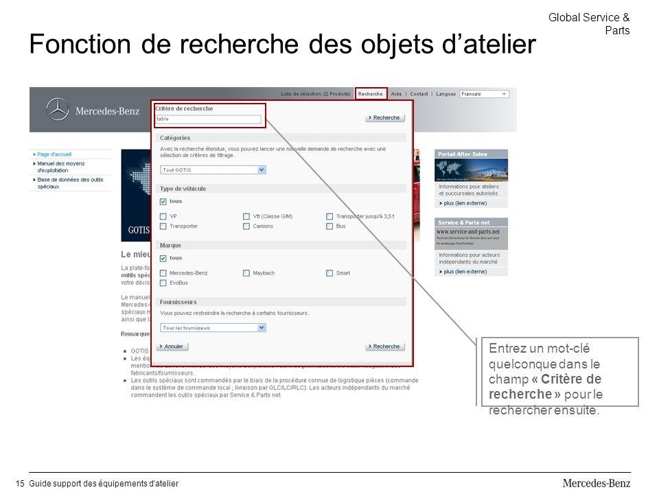 Global Service & Parts Guide support des équipements d atelier15 Fonction de recherche des objets datelier Entrez un mot-clé quelconque dans le champ « Critère de recherche » pour le rechercher ensuite.
