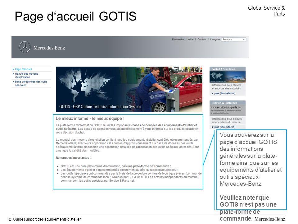 Global Service & Parts Guide support des équipements d atelier2 Page daccueil GOTIS Vous trouverez sur la page daccueil GOTIS des informations générales sur la plate- forme ainsi que sur les équipements datelier et outils spéciaux Mercedes-Benz.