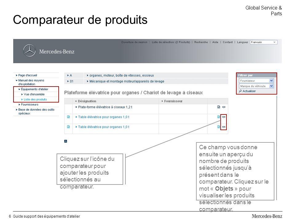 Global Service & Parts Guide support des équipements d atelier6 Comparateur de produits Cliquez sur licône du comparateur pour ajouter les produits sélectionnés au comparateur.