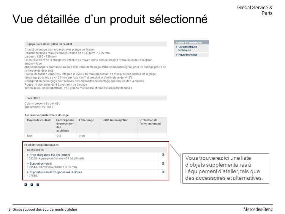 Global Service & Parts Guide support des équipements d atelier9 Vue détaillée dun produit sélectionné Vous trouverez ici une liste dobjets supplémentaires à léquipement datelier, tels que des accessoires et alternatives.