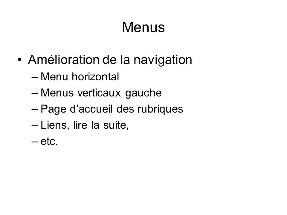 Menus Amélioration de la navigation –Menu horizontal –Menus verticaux gauche –Page daccueil des rubriques –Liens, lire la suite, –etc.