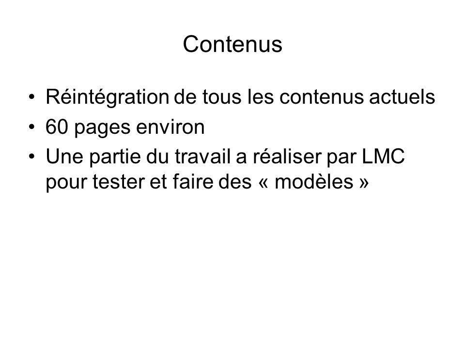 Réintégration de tous les contenus actuels 60 pages environ Une partie du travail a réaliser par LMC pour tester et faire des « modèles »