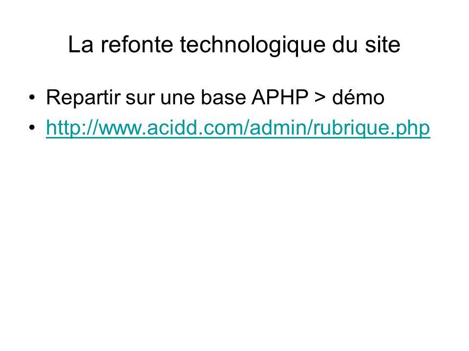 La refonte technologique du site Repartir sur une base APHP > démo http://www.acidd.com/admin/rubrique.php