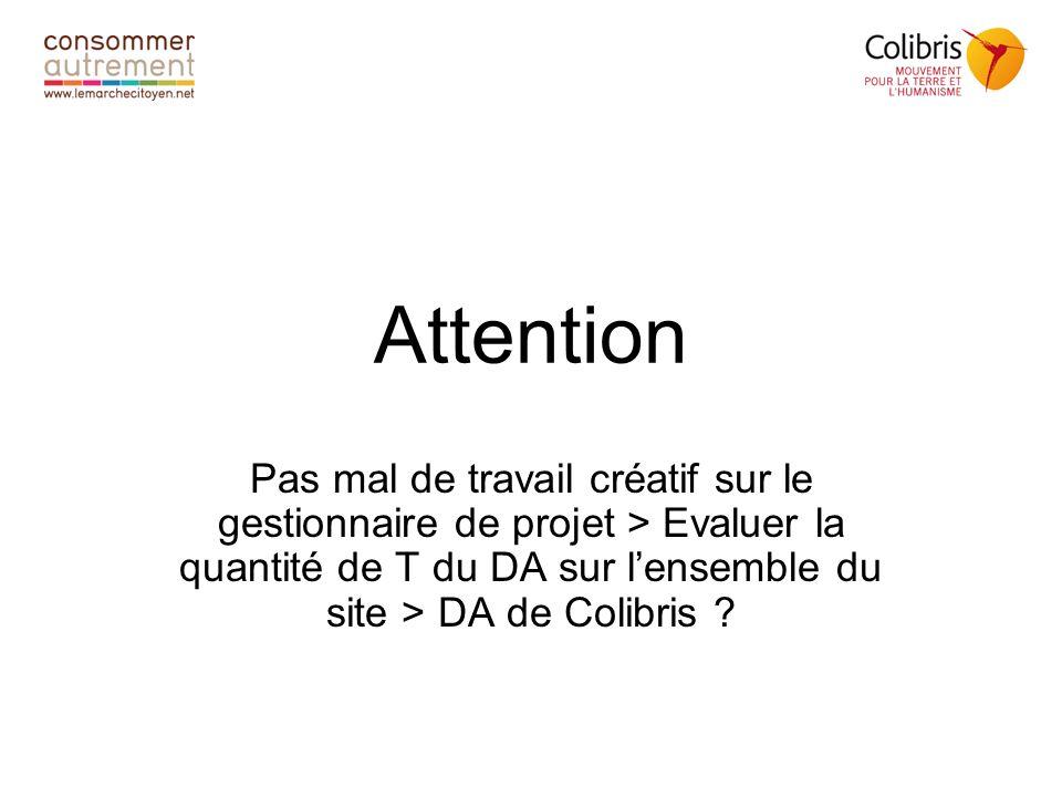 Attention Pas mal de travail créatif sur le gestionnaire de projet > Evaluer la quantité de T du DA sur lensemble du site > DA de Colibris ?
