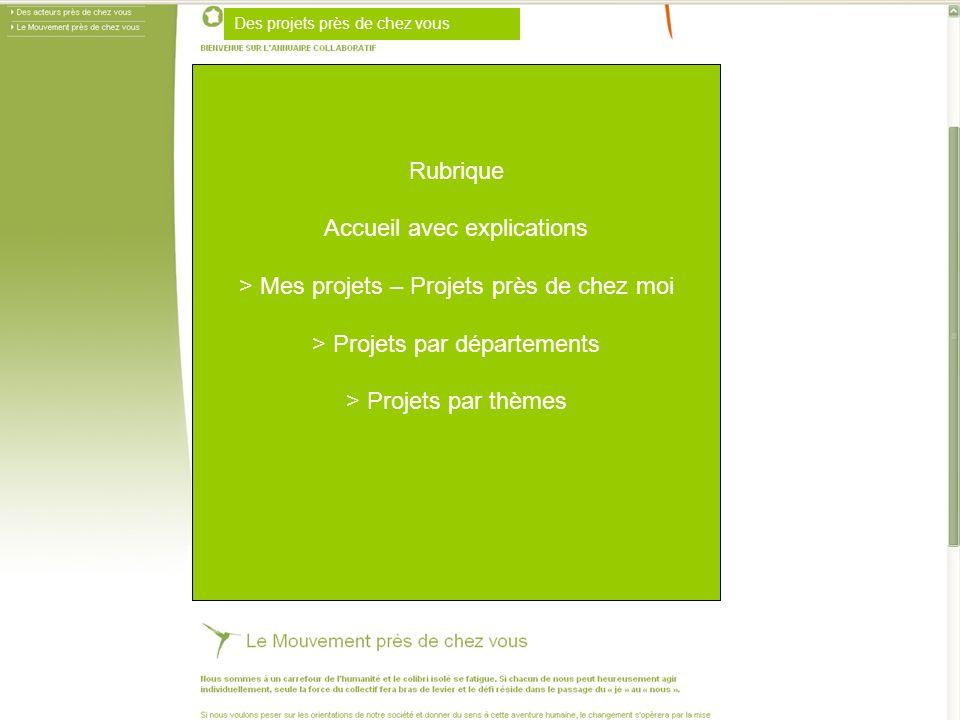 Des projets près de chez vous Rubrique Accueil avec explications > Mes projets – Projets près de chez moi > Projets par départements > Projets par thèmes