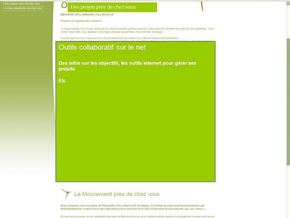 Outils collaboratif sur le net Des infos sur les objectifs, les outils internet pour gérer ses projets Etc.
