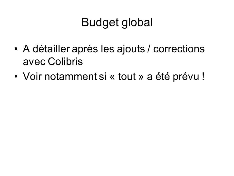 Budget global A détailler après les ajouts / corrections avec Colibris Voir notamment si « tout » a été prévu !