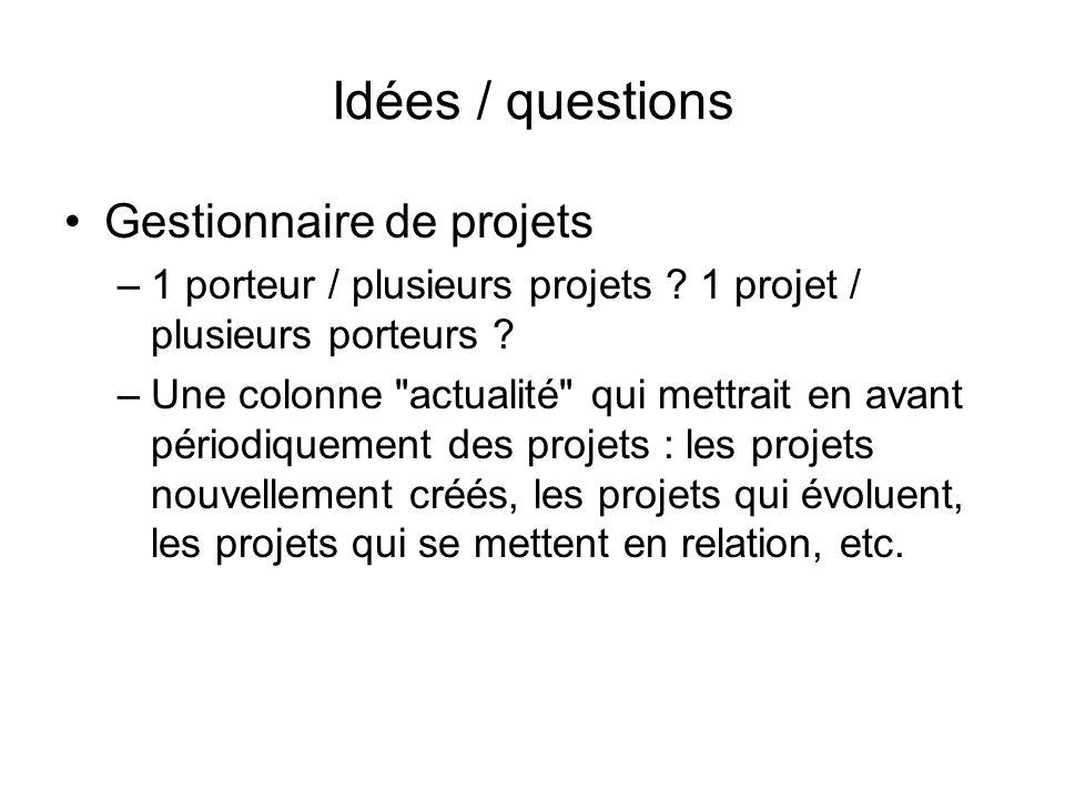 Idées / questions Gestionnaire de projets –1 porteur / plusieurs projets .