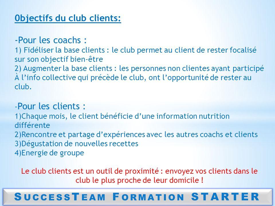 S UCCESS T EAM F ORMATION STARTER 0bjectifs du club clients: -Pour les coachs : 1) Fidéliser la base clients : le club permet au client de rester foca