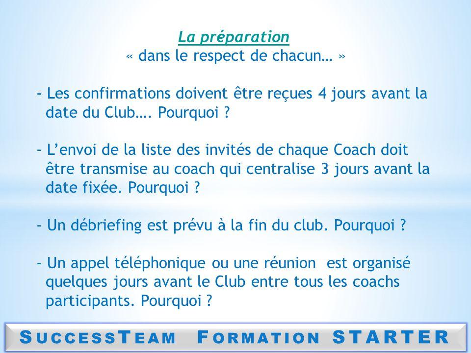 S UCCESS T EAM F ORMATION STARTER La préparation « dans le respect de chacun… » - Les confirmations doivent être reçues 4 jours avant la date du Club…