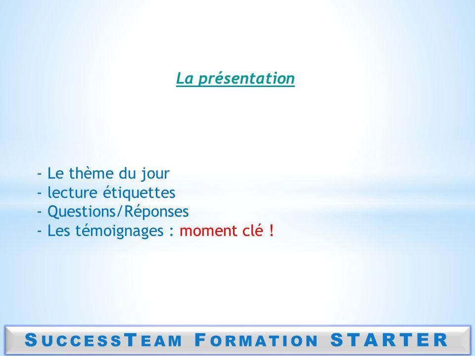 S UCCESS T EAM F ORMATION STARTER La présentation - Le thème du jour - lecture étiquettes - Questions/Réponses - Les témoignages : moment clé !
