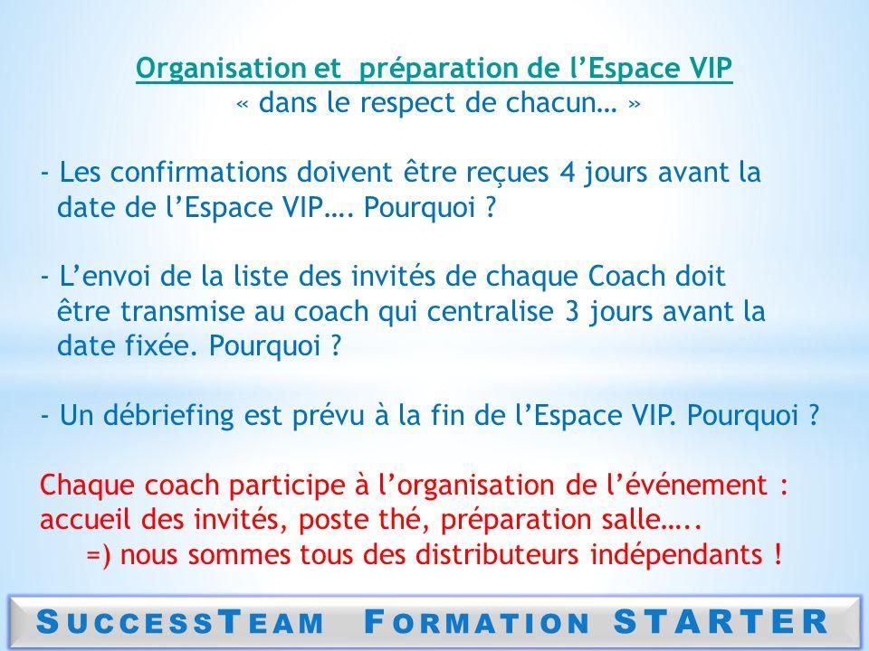 S UCCESS T EAM F ORMATION STARTER Organisation et préparation de lEspace VIP « dans le respect de chacun… » - Les confirmations doivent être reçues 4
