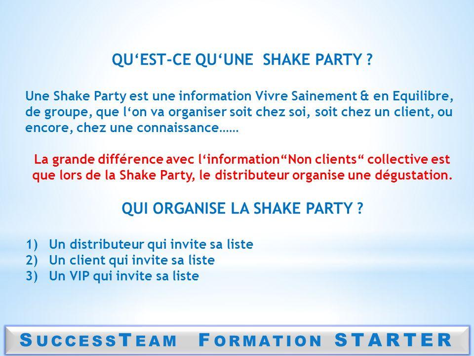 S UCCESS T EAM F ORMATION STARTER QUEST-CE QUUNE SHAKE PARTY ? Une Shake Party est une information Vivre Sainement & en Equilibre, de groupe, que lon
