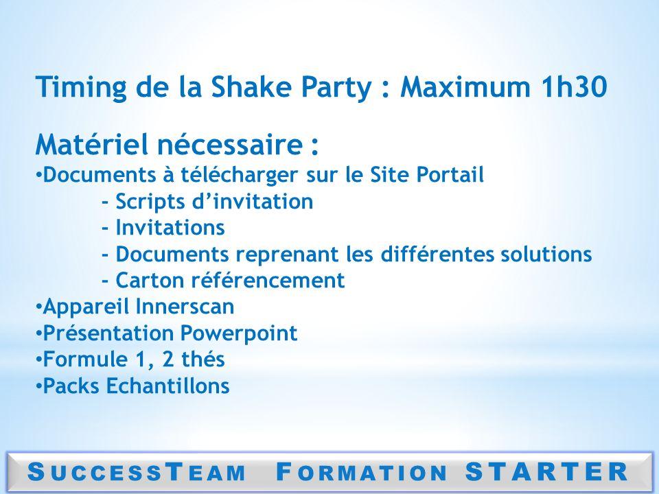 S UCCESS T EAM F ORMATION STARTER Timing de la Shake Party : Maximum 1h30 Matériel nécessaire : Documents à télécharger sur le Site Portail - Scripts