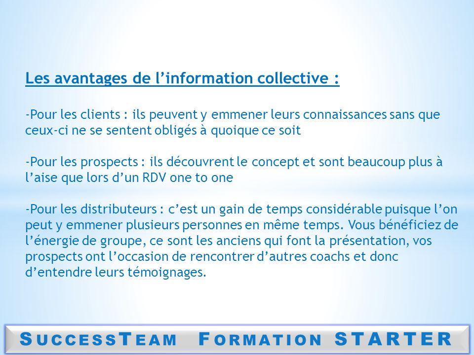 S UCCESS T EAM F ORMATION STARTER Les avantages de linformation collective : -Pour les clients : ils peuvent y emmener leurs connaissances sans que ce
