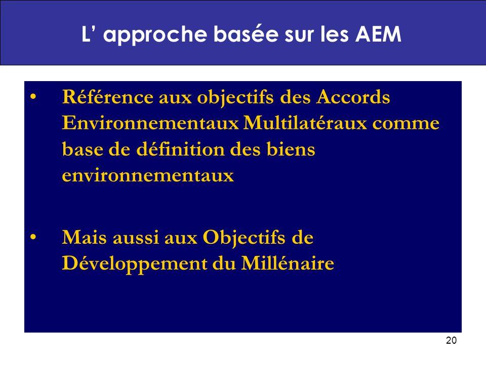 20 Référence aux objectifs des Accords Environnementaux Multilatéraux comme base de définition des biens environnementaux Mais aussi aux Objectifs de Développement du Millénaire L approche basée sur les AEM