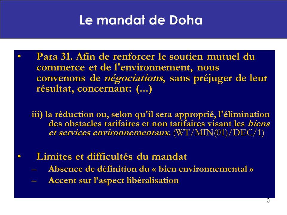 14 Potentiel de croissance du marché des biens et service environnementaux par région Agrégation un niveau régional Africain Déficit dans les deux catégories