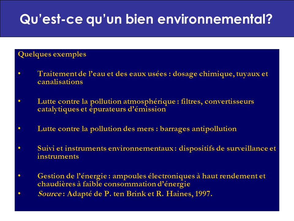 7 Typologie des biens environnementaux (1) Biens traditionnels Régler un problème environnemental BPE Objectif principal Autres usages Objectif principal Mais des bénéfices environnementaux sont crées a travers: Production E.g.