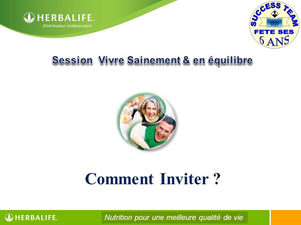 Comment Inviter ? Nutrition pour une meilleure qualité de vie